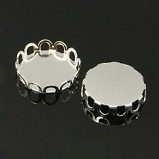 10pcs Brass  Round Cabochon Settings Frame  Silver, Tray:12mm Jewellery Making