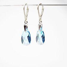 Ohrringe 925 Sterlingsilber 16mm mit Swarovski® Kristallen Blau Tropfen