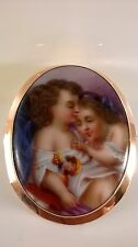 superb antique c1850, Victorian 9ct gold miniature oil painting portrait brooch