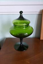 Lovely Empoli Italian Twisted Glass Green Tall Covered Candy Dish Jar VTG 60s