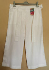 MARKS & SPENCER (UK12S / EU40S) WHITE LINEN RICH CROP BELTED TROUSERS - NEW
