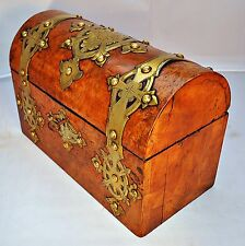 Victorian engraved Brass mounted, Burr Walnut Dome Top Stationary Box, with Key