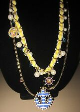 BETSEY JOHNSON NAUTICAL BOOST DOUBLE LONG NECKLACE WITH ANCHOR PINUP GIRL CHARM