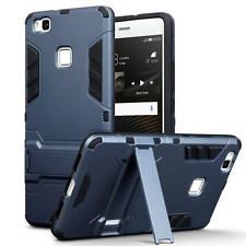 Slim Shock Resistant Armour Case Stand for Huawei P9 Lite - Dark Blue