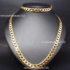 "24K Yellow Gold Filled 23.6""+8.5"" Men's Jewelry Chain Necklace Bracelet Set S18"