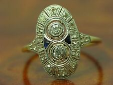 18kt 750 GOLD ART-DECO RING MIT BRILLANT, DIAMANT & SAPHIR BESATZ / 2,6g / RG 52