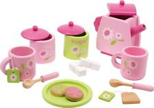 Wooden Pink Tea Set Role Play Toy Tea Party Kitchen Pretend Play