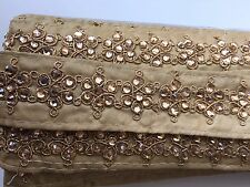 ATTRACTIVE INDIAN CRYSTAL FLOWERS ON FABRIC RIBBON LACE/TRIM -Sold By METER