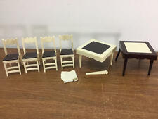 VINTAGE IDEAL DOLLHOUSE MINIATURE PLASTIC FOLDING TABLE & CHAIRS LOT