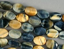 LOVELY BLUE GRAY & HONEY GOLD HAWKS EYE AND TIGER'S EYE OVAL BEADS 14X11MM 16""