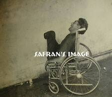 Vintage BIZARRE Man Passed Out Amputee in Wheelchair Photo Collectors MUST L@@K