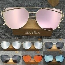 Women's Flat Lens Mirrored Metal Frame Glasses Oversized Cat Eye Sunglasses New