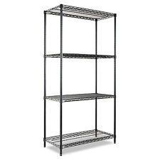 Alera Wire Shelving Starter Kit Four-Shelf 36w x 18d x 72h Black SW503618BL