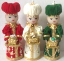 Vintage Retro 50's  Christmas Set 3 Wise Men Velvet Styrofoam Jewelry Homemade