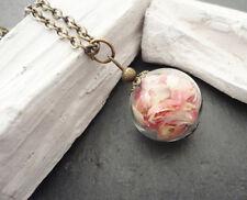 Halskette Kette mit Anhänger Glasperle echte Blütenblätter rosa bronzefarben