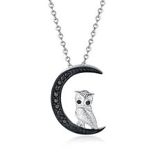 "Sterling Silver Cubic Zirconia Owl and Moon Pendant Necklace,16+2"" Extender"