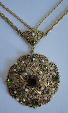Florenza Elegant  Pendant w/ Double Chain Faux Green Amber Topaz Pearl Necklace
