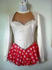 Figure Skating Dress White Cr Velvet/Sweetheart/Long Sleeve/Red White Dot Skirt