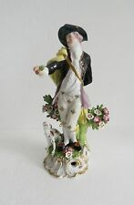Derby Porcelain Works figurine of man and dog - France ca 1860s  - FREE SHIPPING