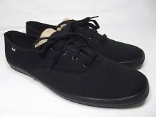 Keds Womens 12M Black Canvas Lace Up Oxfords Shoes Sneakers WF24700