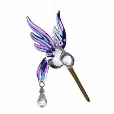 Fantasy Glass Hummingbird Suncatcher With A Swarovski Crystal - Purple
