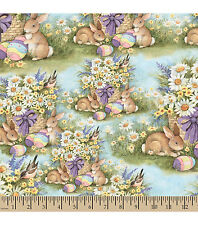 EASTER SPRING VALANCE WITH COLORED EGGS BUNNYS BASKETS OF FLOWERS