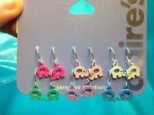 Six Pairs Of Claire's Dangling Elephant Cute Colored Earrings