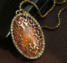 hot Womens Jewelry Oval Amber Hollow Rhinestone Long Chain Pendant Necklace