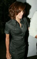 KAREN MILLEN RARE EVA LONGORIA NAVY PINSTRIPE COTTON STRETCH SHIRT DRESS SIZE 10