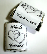120 DOUBLE LINKING SILVER HEARTS WEDDING CANDY WRAPPERS FAVORS