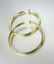 "CLASSIC Lightweight GOLD Metal Round 1 3/4"" CLIP ON Hoop Earrings"