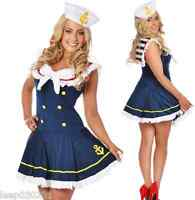 Ladies Sailor Fancy Dress Costume Skirt Blue & White Outfit Hat Sexy Hen Party
