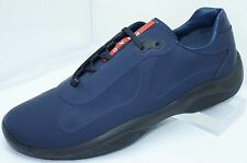 Prada Mens Blue Shoes Calzature Uomo Size 10 Tennis Shoes Rubber Sneakers NIB