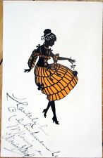 1920 Hold-to-Light Postcard: Silhouette Woman in Orange Dress