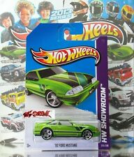 Hot Wheels 2013 #225 '92 Ford Mustang GREEN,PR5,BLACK BASE,NICE!