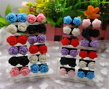 12 Pairs Mystic Rose Stud Earring Mixed Color Flower Wholesale Lot Nickel