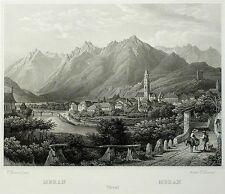 MERAN / MERANO - Gesamtansicht - Frommel - Stahlstich 1842
