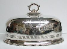 "SUPERB VICTORIAN ENGLISH PLATE MEAT PLATTER DOME 12"" COVER - GREEK KEY & BEADED"