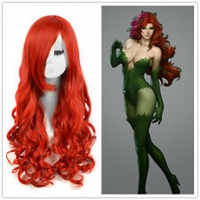 DC Comics Poison Ivy Cosplay Wigs Women MERMAID hair Red Long Curly Wig