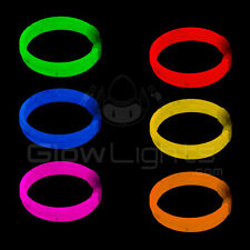 "(33) 8"" TRIPLE GLOW STICKS BRACELET WRISTBANDS - 10 NEON COLORS - GLO LITE PARTY"