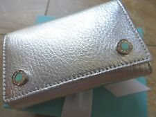 New Tiffany & Co. Silver Metallic Leather 6 Ring Key Holder Wallet. Gift Ready!