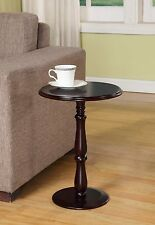 Small Accent Round Table Nightstand Side End Plant Stand Wooden Cherry Finish