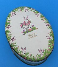 SEE'S CANDIES Candy EGG Metal TIN Container Easter Bunny