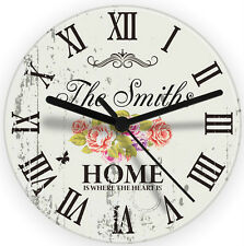 Personalised Shabby Chic Retro Glass Wall Clock - Wedding Gift, New Home Present