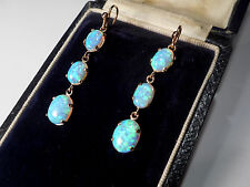 9CT GOLD TRIPLE OPAL VINTAGE DROP EARRINGS
