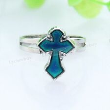 1Pc New Fashion Cross Sword Adjustable Ring Emotion Feeling Mood Color Changing