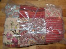 Pottery Barn Georgia Patchwork Quilt King Red - Blanket Cover
