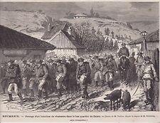 1877  --  ROUMANIE  PASSAGE D UN BATAILLON DE CHASSEURS  GALATZ    3K029
