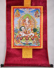 """32"""" BROCADE WOOD SCROLL THANGKA: THE FIVE SISTERS OF LONGEVITY & FORTUNE GODESS"""