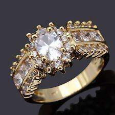 Women's Round Cut Size 8 Luxury White Topaz 18K Gold Filled Bridal Wedding Ring